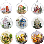 Promotion diy glass ball wooden doll houses miniature dollhouse With Funitures Mini Casa Model Building kit Gift Toys
