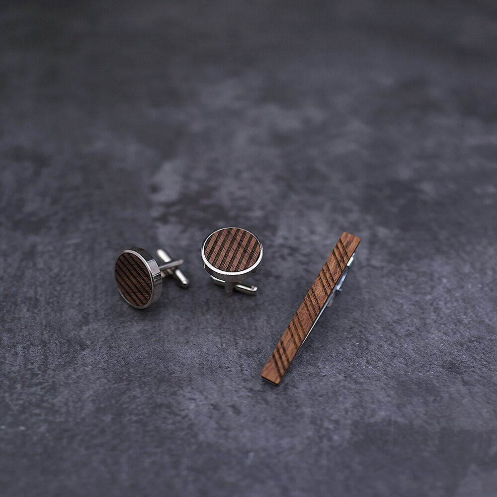 High Quality Wood Cuff links necktie clip for tie pin for men's gift Wooden pattern tie bars cufflinks tie clip set Men Jewelry