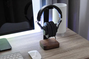 Walnut Wood & Steel Headphone Stand - Carved Nature