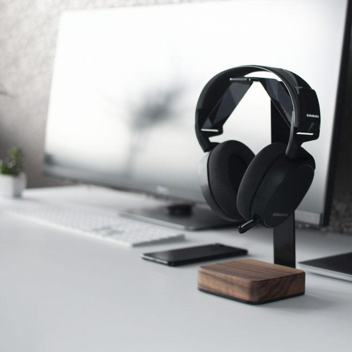 Walnut Wood & Steel Headphone Stand