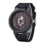 Zebra Wooden Watch - Charcoal front