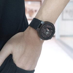Zebra Wooden Watch - Charcoal real looks
