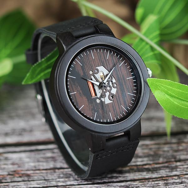 Zebra Wooden Watch - Charcoal side look