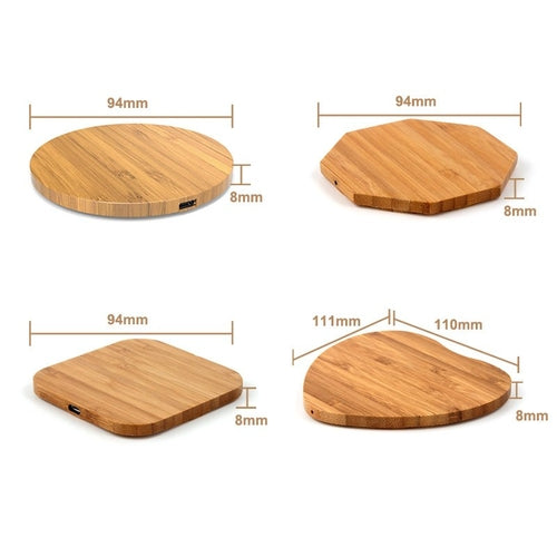 Bamboo Wooden Wireless Charging Pad in shapes by carved nature