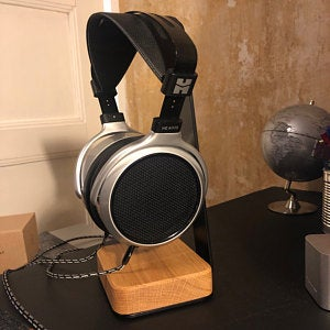 Oak Wood & Steel Headphone Stand-Carved Nature