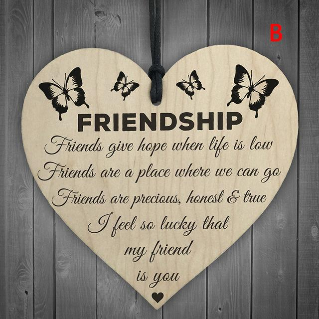Hand Carved Wooden LOVE Chip friendship