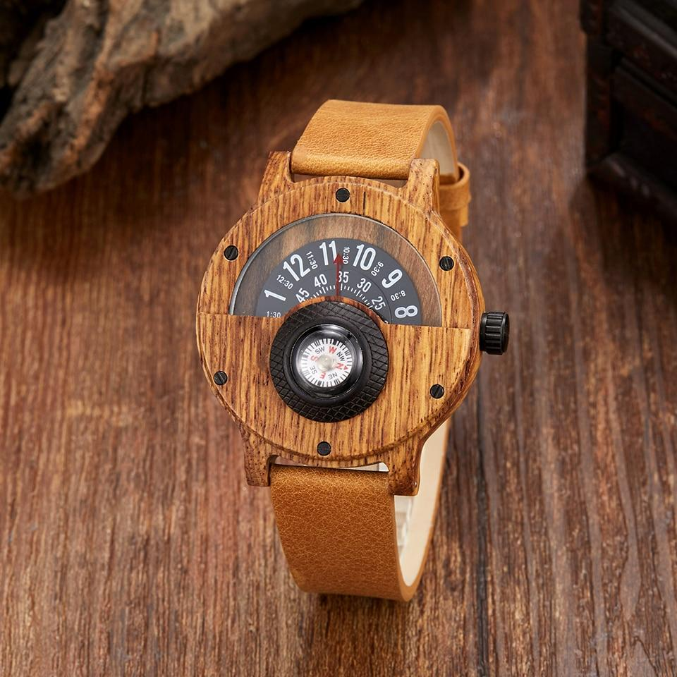 Natural Wood Compass Wristwatch🎁✨ - Carved Nature