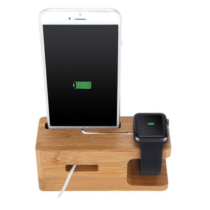 Bamboo Charging Dock Station For Cellphone & Smartwatch