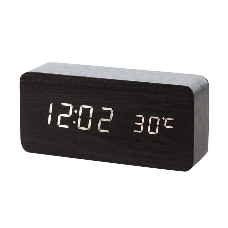 LED Wooden Alarm Clock  With Voice Control black