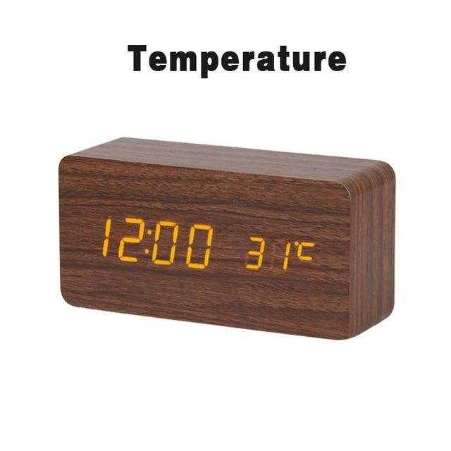 brown LED Wooden Alarm Clock  With Voice Control