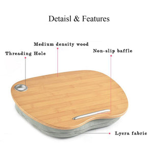 Multifunction Wooden Portable Desk, Holder  With Pillow