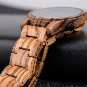 Earthy Classic Wooden Watch - Carved Nature