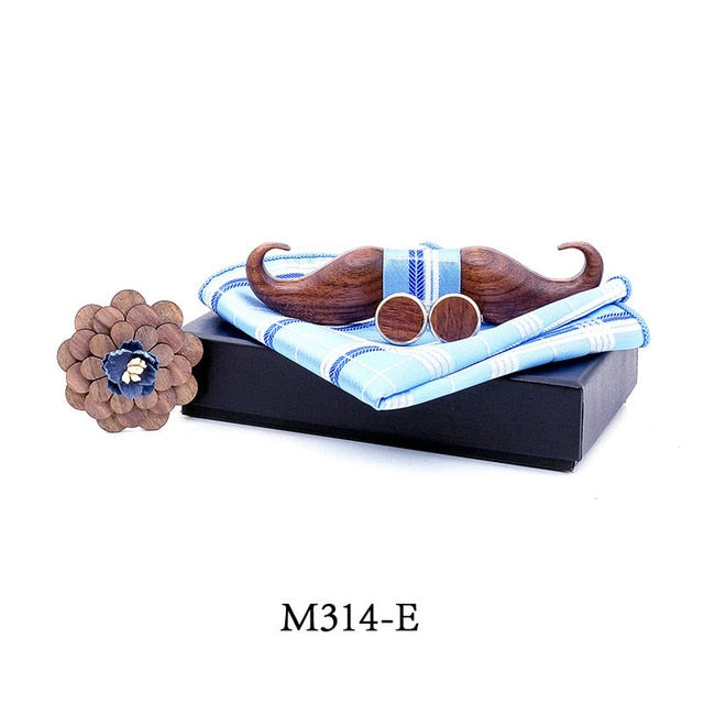 Walnut Turkish Style Mustach Bow Tie Set-Carved Nature