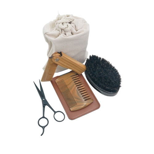 4 Pcs Men Bristle Bamboo Grooming kit-Carved Nature
