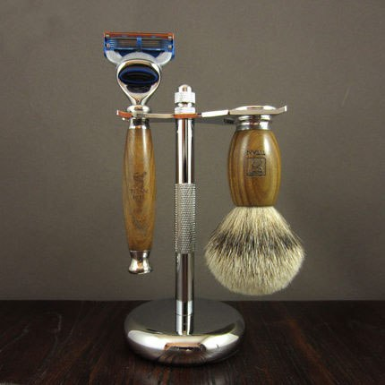 Green Ebony Wood Man Shaving Set