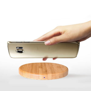 Round Wooden Bamboo Wireless Charging Pad by carved nature
