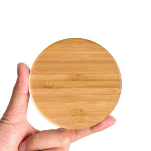 Round Wooden Bamboo Wireless Charging Pad, customs wooden gifts