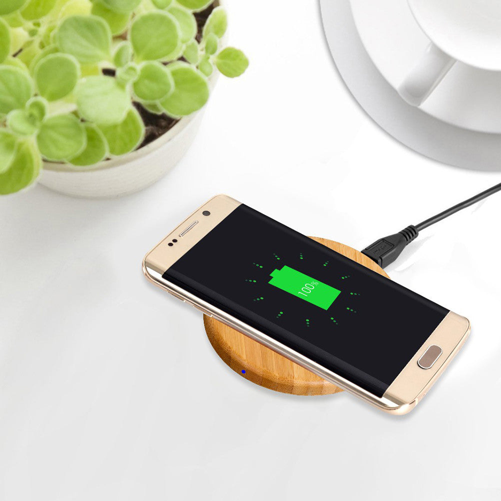 Round Wooden Bamboo Wireless Charging Pad for electronic