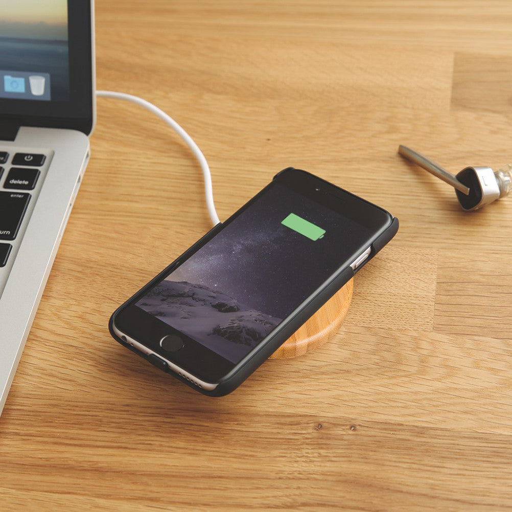 Round Wooden Bamboo Wireless Charging Pad