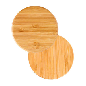 Round Wooden Bamboo Wireless Charging Pad for samsung