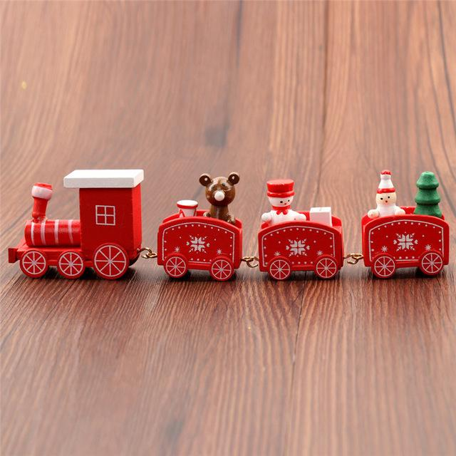 Wooden Christmas Painted Train red
