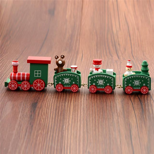 Wooden Christmas Painted Train  green
