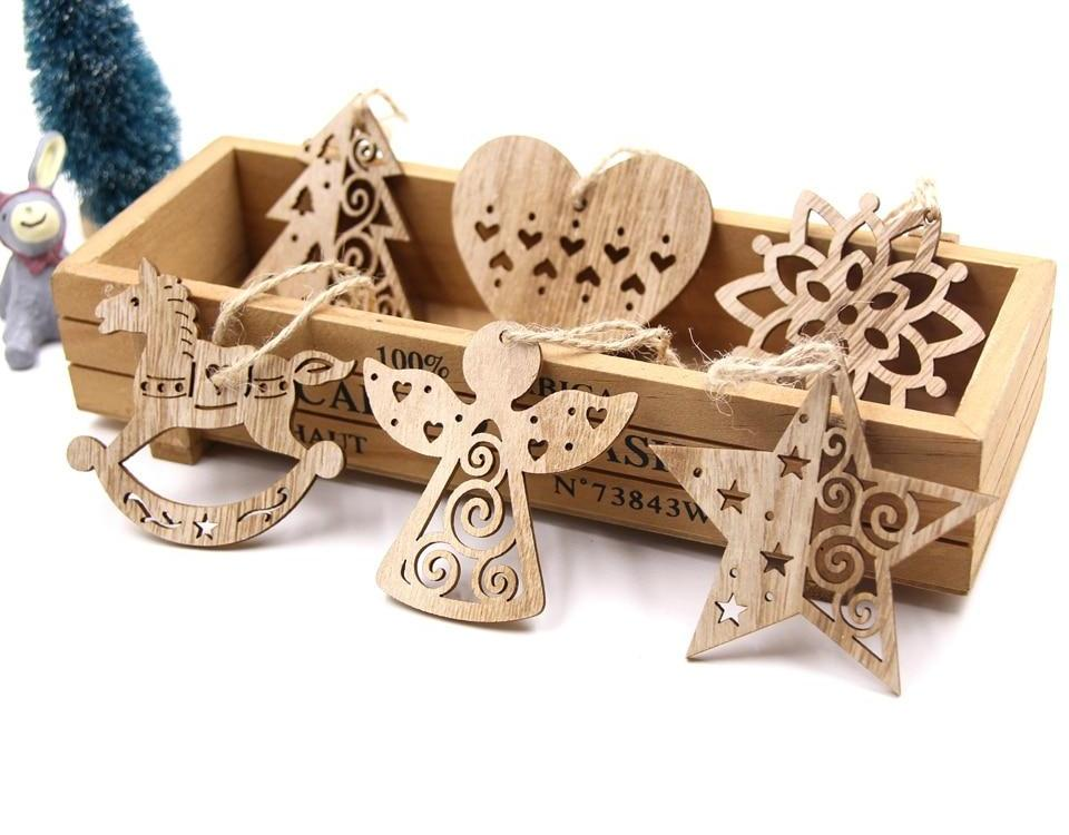 Wooden Pendants Set for Christmas Decorations 02