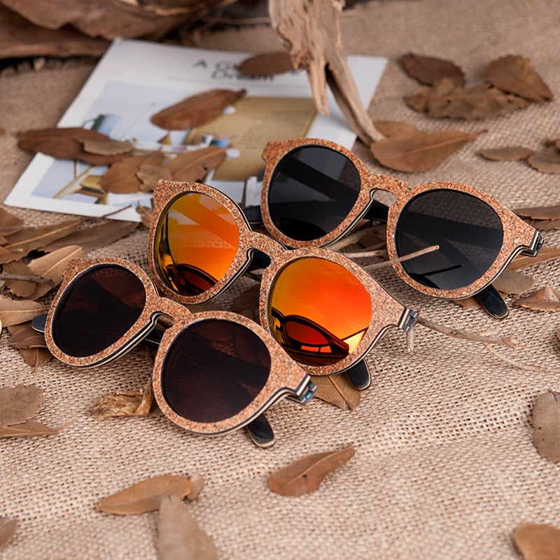 wooden bamboo cat eye sunglasses colorful lens