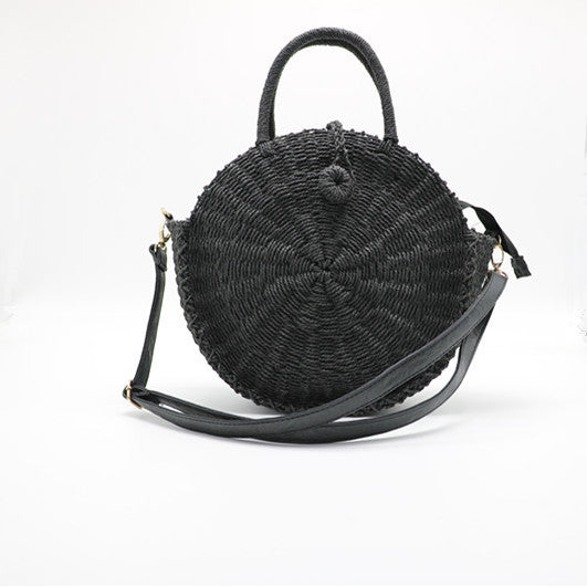 Earthcessories round handmade rattan handbag by carved nature black