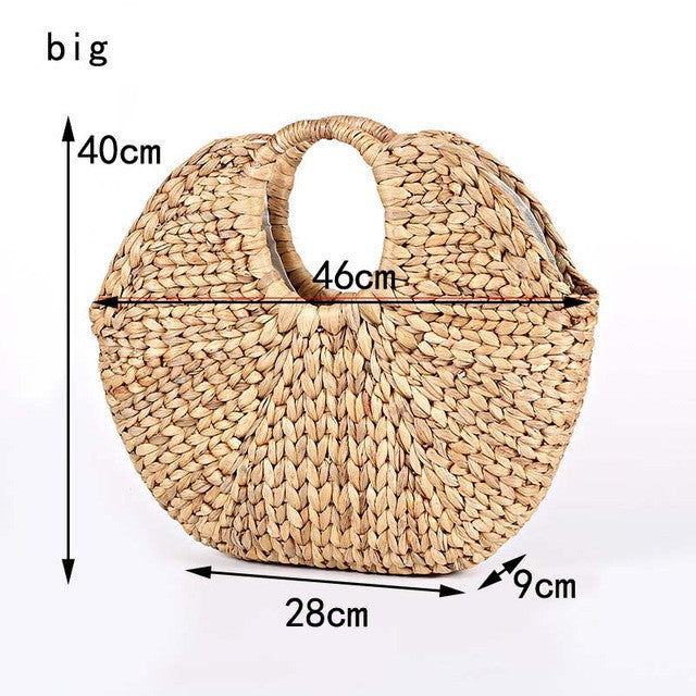 woven straw handmade bag by carved nature