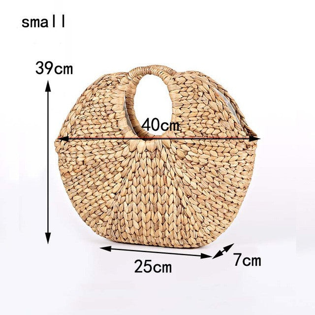 woven straw handmade bag by carved nature large