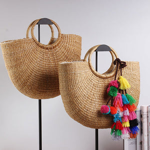 Bohemian Braided Straw Tote Bag with Tassels  by carved nature