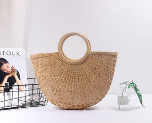 Bohemian Braided Straw Tote Bag with Tassels  by carved nature small