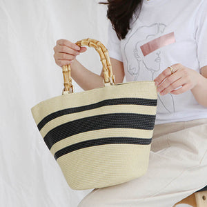 Handmade Grass Handbags striped by carved nature