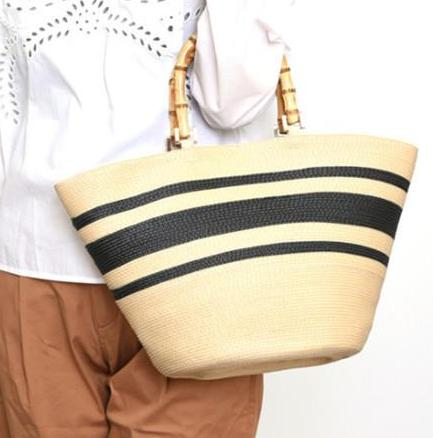 Handmade Grass Handbags big with brown striped