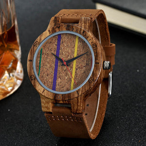 Unisex Colorful Lines Cork Wood Wristwatch