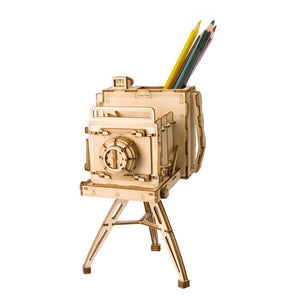 Pen Bin in Wooden Vintage Camera Organizer Model