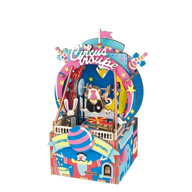 Colorful Cartoon Wooden Puzzle & Musical Box