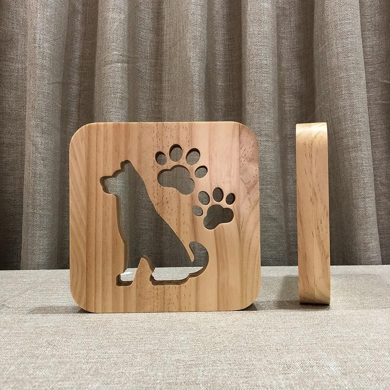 3D Wooden Lamp Night -dog