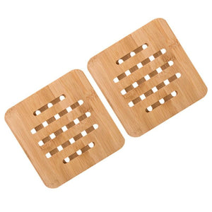 2PCS Bamboo Cup Coasters (Square) by carved nature