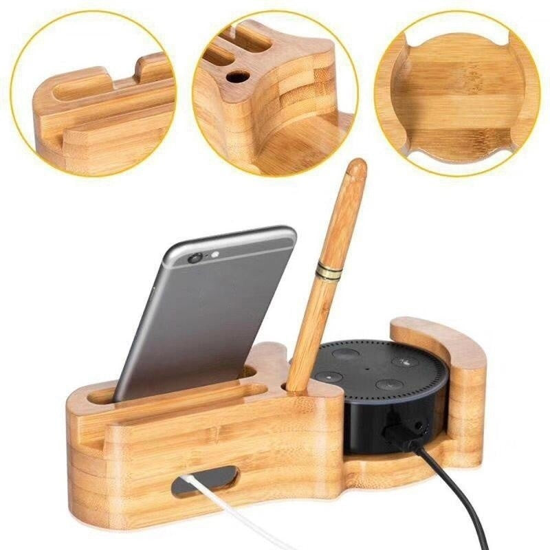 Echo IPhone 4 In 1 Bamboo Charger Dock Station custom wood gifts