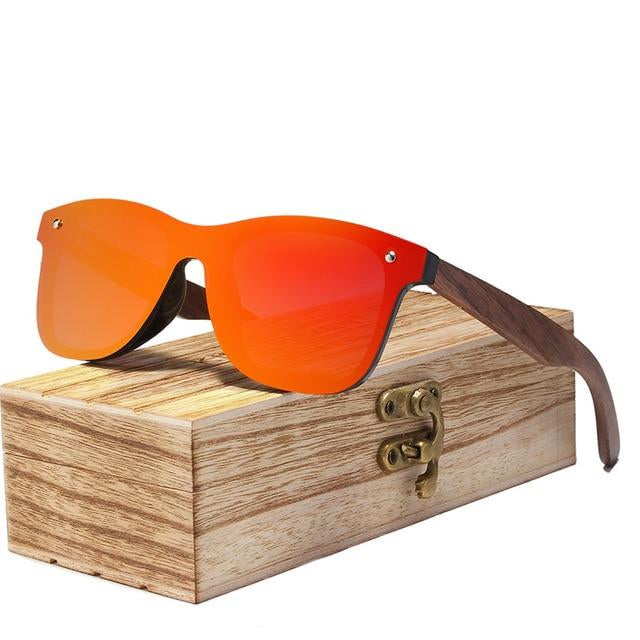 Walnut wood shade sunglass Orange lens