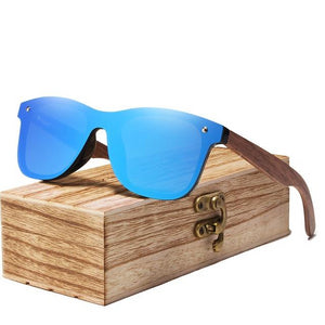 Walnut wood shade sunglass blue lens