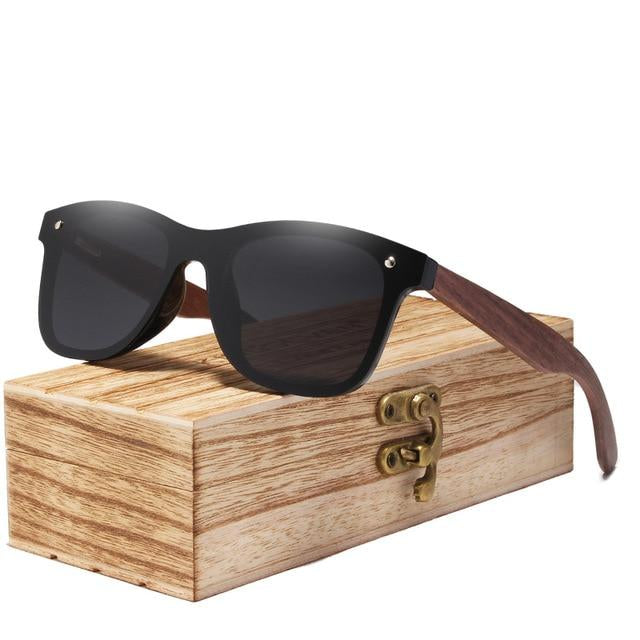 Walnut wood shade sunglass  black lens