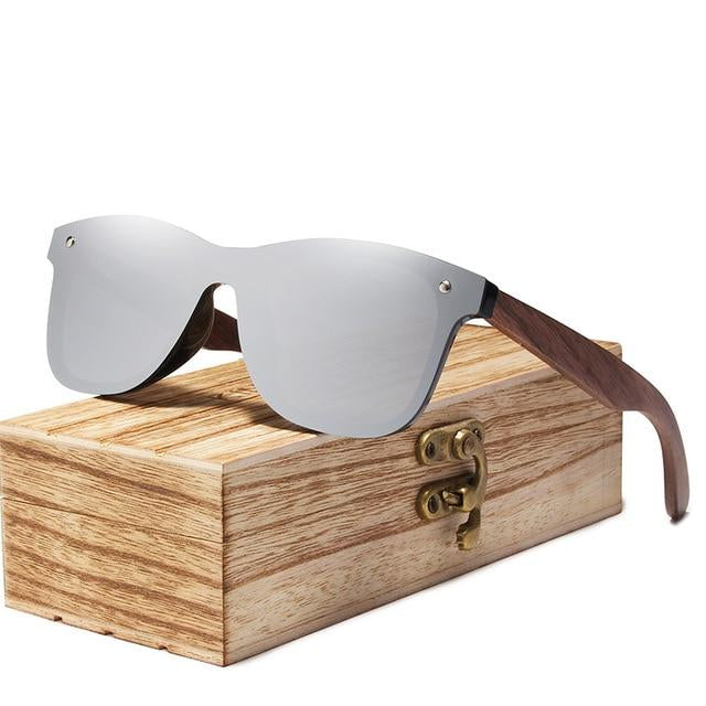 Walnut wood shade sunglass  gray lens