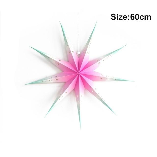 pink in white star paper ornament