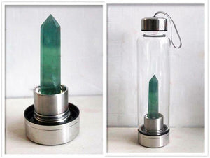 Natural crystal water bottle with crystal column BY CARVED NATURE