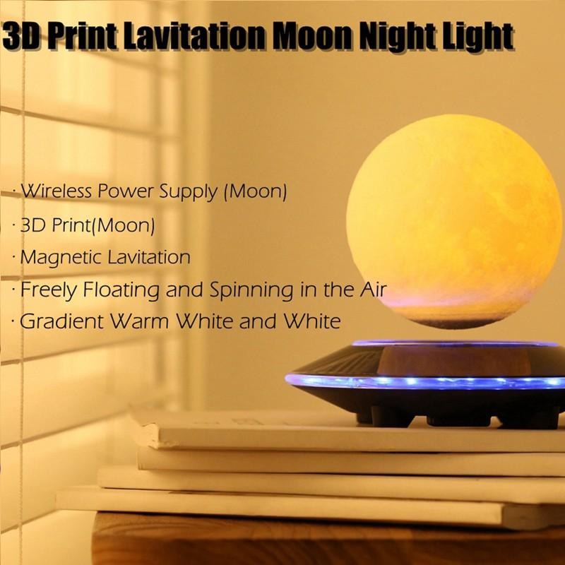 3D Magnetic Floating Moon Lamp by carved nature