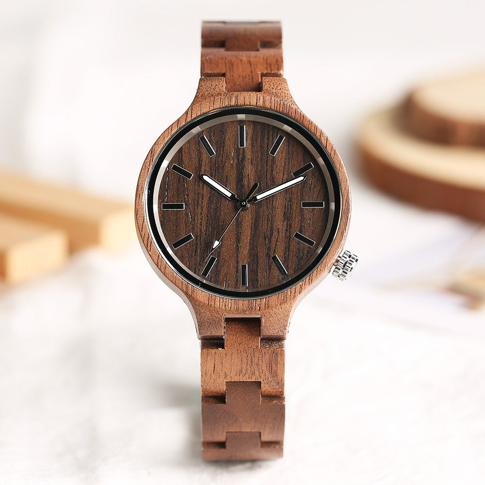 Wooden Quartz Bamboo Wristwatch Chocolate by carved nature