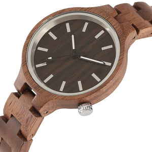 Wooden gift for men and women Quartz Bamboo Wristwatch Chocolate by carved nature